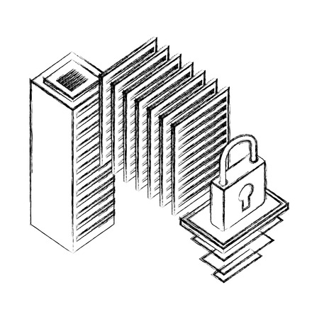 server data center isometric icon vector illustration design Stock Vector - 110214425