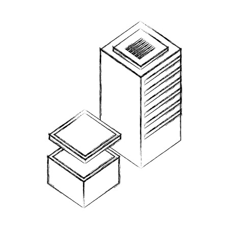server data center isometric icon vector illustration design