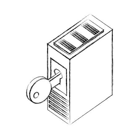 server data center with key isometric icon vector illustration design