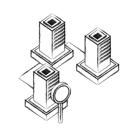 servers data center with magnifying glass isometric icon vector illustration design