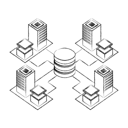 servers data center with circuit electronic isometric icon vector illustration design