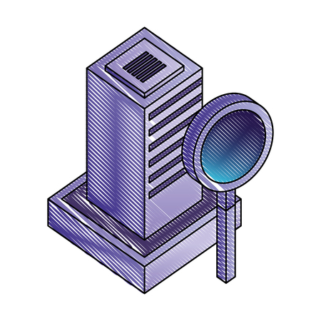 server data center with magnifying glass isometric icon vector illustration design