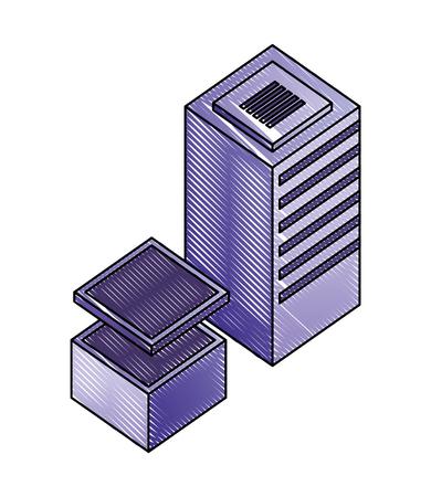 server data center isometric icon vector illustration design