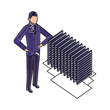 businessman with server data center isometric icon vector illustration design Ilustração