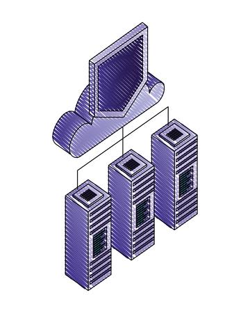 cloud computing with shield and servers data center vector illustration design Ilustração