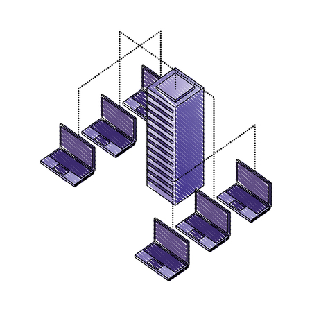server data center with laptops computers isometric icon vector illustration design Illustration