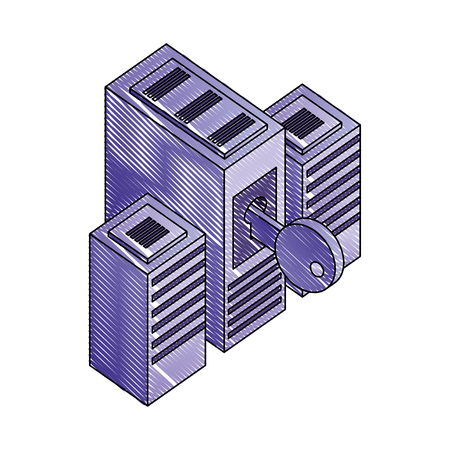 servers data center with key isometric icon vector illustration design