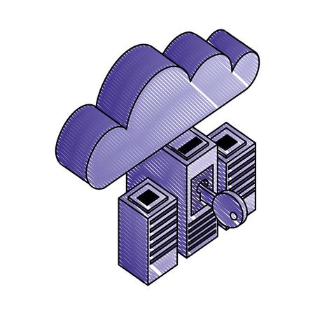servers data center with key and cloud computing vector illustration design Ilustração