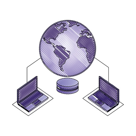 planet earth with laptops computers and server data disk vector illustration design Ilustrace