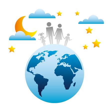 family in planet earth silhouette avatars vector illustration design Stock Illustratie