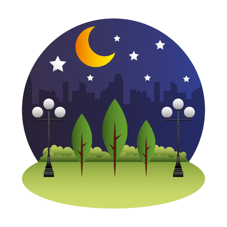 park scene at night isolated icon vector illustration design