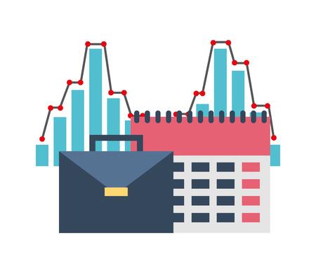portfolio briefcase with calendar and graphical statistics vector illustration design Standard-Bild - 110214519