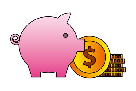 savings piggy and money isolated icon vector illustration design Illustration
