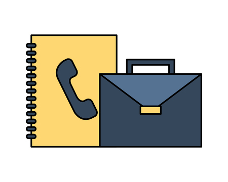 portfolio briefcase with phonebook isolated icon vector illustration design