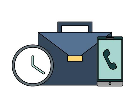 portfolio briefcase with clock and smartphone vector illustration design Vecteurs