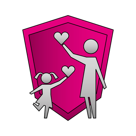 mother and daughter with hearts and shield silhouette icon vector illustration design