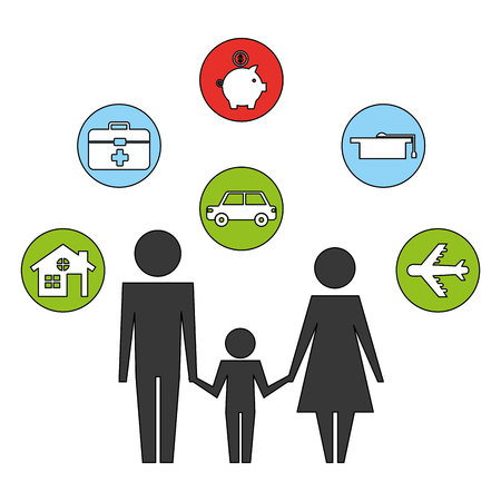 parents with son and set icons silhouette vector illustration design Stockfoto - 110214550
