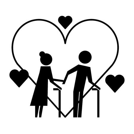 Couple de grands-parents avec des coeurs silhouettes vector illustration design