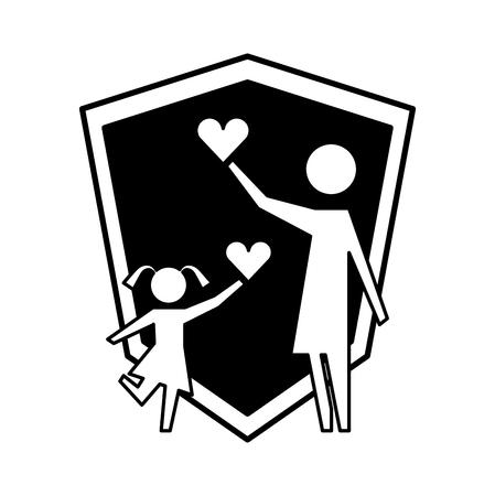 mère et fille avec coeurs et bouclier silhouette icône vector illustration design