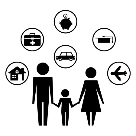 parents with son and set icons silhouette vector illustration design
