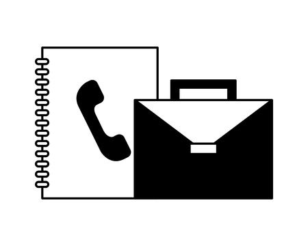 portfolio briefcase with phonebook isolated icon vector illustration design