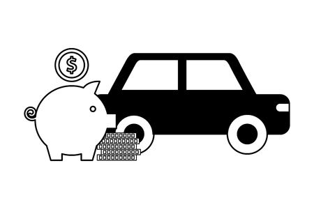 car sedan with pig money silhouette isolated icon vector illustration design