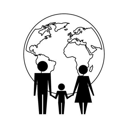 parents with son and planet earth silhouette vector illustration design Stock Illustratie