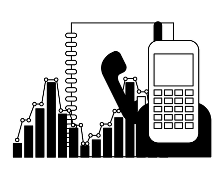 phonebook and phone with statistics vector illustration design