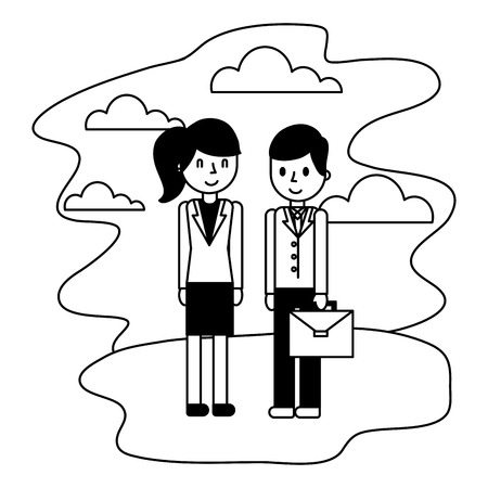 business couple elegant in landscape avatar character vector illustration design Illustration