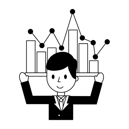 businessman elegant with statistics graphical isolated icon vector illustration design