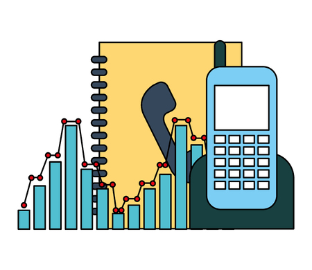 phonebook and phone with statistics vector illustration design Banque d'images - 110214594