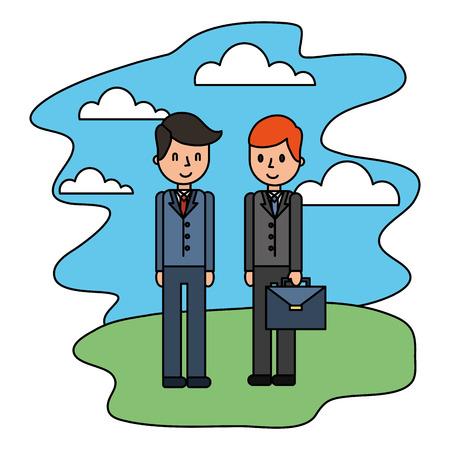 businessmen elegant with portfolio in landscape vector illustration design