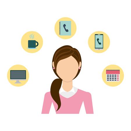 businesswoman elegant with set icons avatar character vector illustration design Vektorové ilustrace