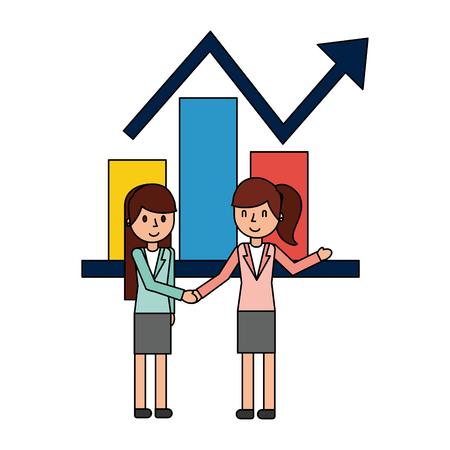 businesswomen elegant with statistics graphics vector illustration design