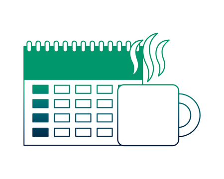 calendar reminder with cup coffee isolated icon vector illustration design