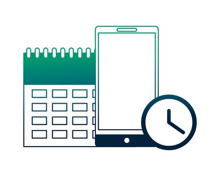calendar reminder with smartphone and clock vector illustration design