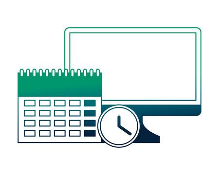 calendar reminder with monitor computer and clock vector illustration design Illustration