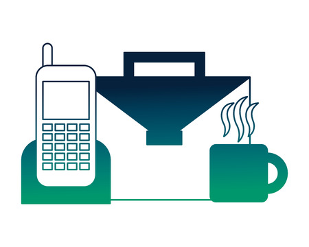 portfolio briefcase with cellphone and cup coffee vector illustration design Stock Illustratie