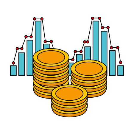 coins money with statistics vector illustration design