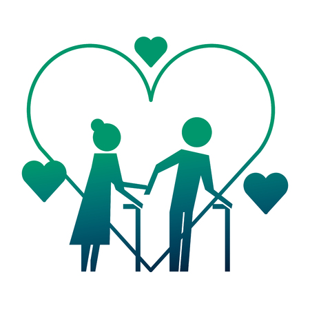 grandparents couple with hearts silhouettes vector illustration design