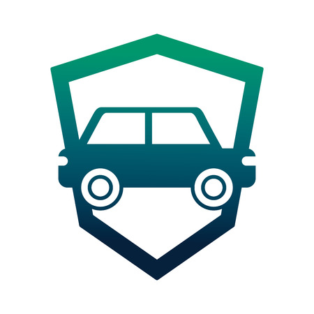 car sedan with shield silhouette isolated icon vector illustration design