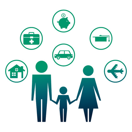 parents with son and set icons silhouette vector illustration design Stockfoto - 110214653