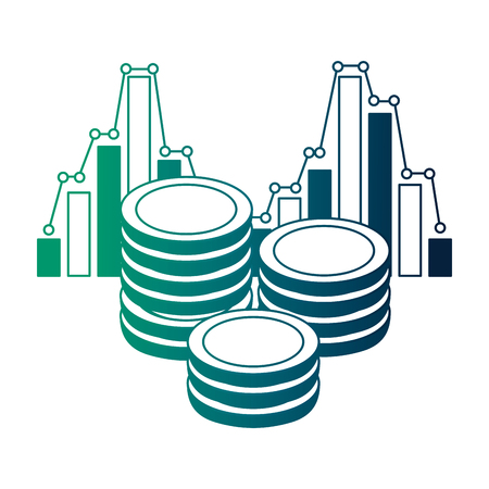 persons with coins money and statistics vector illustration design