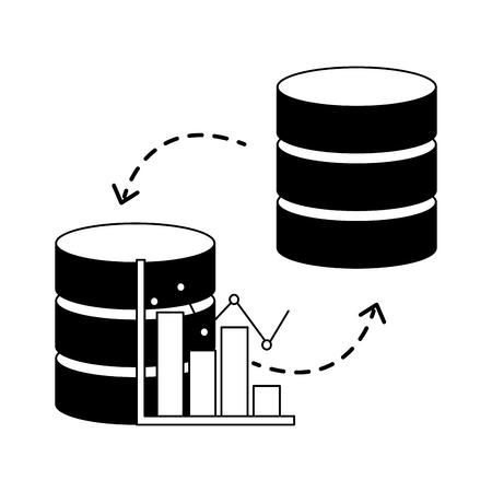 centre de base de données statistiques transfert graphique illustration vectorielle