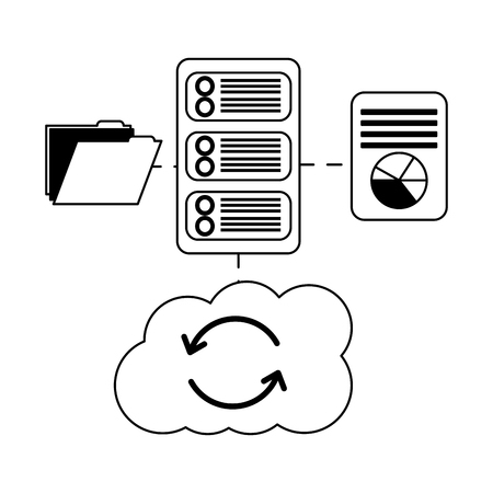 database server cloud computing file information connection vector illustration Banque d'images - 107975950