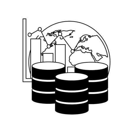 database center storage world graph financial vector illustration