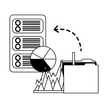 database server folder file report pie chart storage data vector illustration Иллюстрация