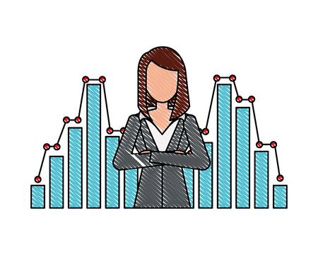 businesswoman financial statistic chart report vector illustration