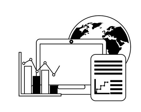 world laptop document data report business vector illustration