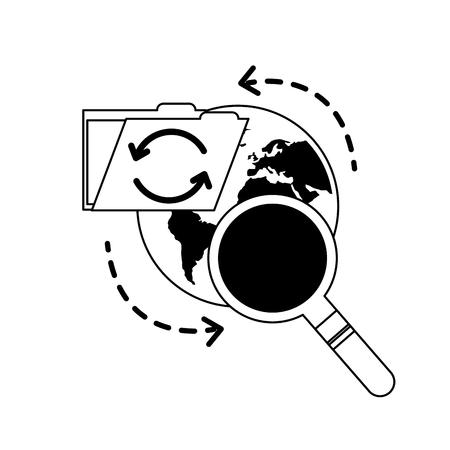 Ilustración de vector de búsqueda de datos de archivo de carpeta de recarga mundial
